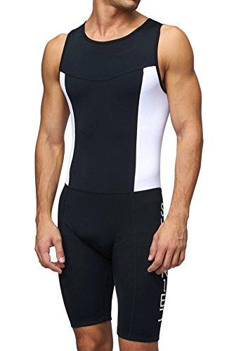 Sundried Herren gepolsterter Prämium Triathlon Tri Anzug Kompression Duathlon Laufen Schwimmen Fahrradfahren Skinsuit (Large)