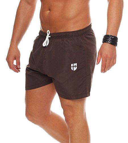 Gennadi Hoppe Herren Badeshorts kurz Badehose Strand Shorts Boardshorts, braun, 4XL