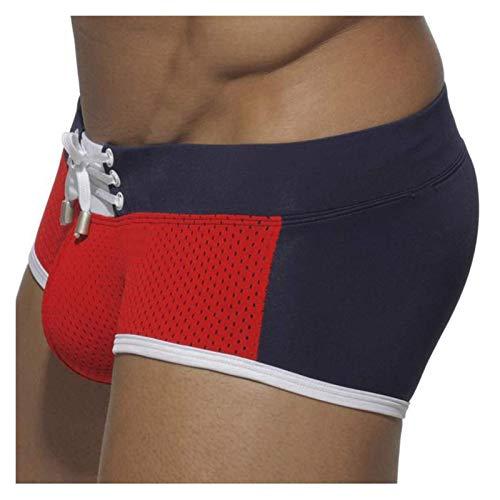 WGBHU Swim Swimwear Männer Schwimmen Slip Sexy Mesh Boxer Badeanzug Strand Shorts Mann Baden Wear Slips (Color : Red, Size : XL)