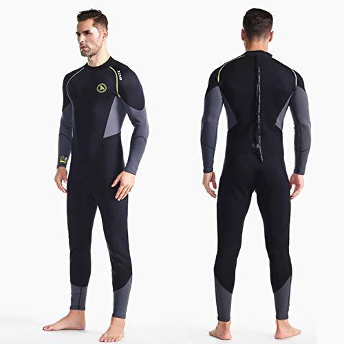ZCCO Herren Neoprenanzug Ultra Stretch 1,5 mm Neopren Badeanzug, Ganzkörper-Tauchanzug mit Reißverschluss hinten, EIN Stück zum Schnorcheln, Tauchen, Schwimmen (schwarz, L)