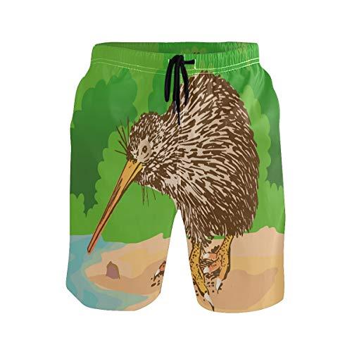 Bonipe Herren-Badehose, süße Cartoon-Kiwi-Vogel, schnell trocknend, Boardshorts mit Kordelzug und Taschen Gr. L/XL, mehrfarbig