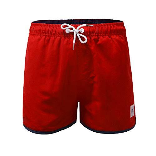 MILANKERR Schwimmshorts Herren Badehose Badeshorts Rote Kurz Schnelltrocknend Beachshorts Boardshorts mit Mesh Netz für Männer (ROT,M)