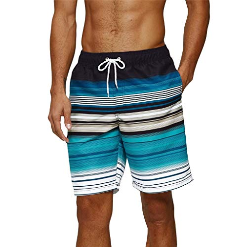 Arcweg Badehose für Herren Lang Mehr Taschen Badeshorts Männer Wasserabweisend Boardshorts Schnelltrocknend Jungen Beachshorts Bermudas mit Tunnelzug Grüne Streifen XL(EU)-MarkeGröße 2XL
