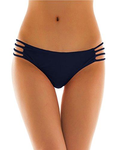 SHEKINI Damen Klassisch Niedrige Taille Tanga Badehose Bademode Thong Brasilianer Bikinihose Chic Bikini Slips Cutout Bikinihöschen (Large, Dunkelblau)