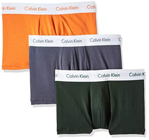 Calvin Klein Herren Low Rise Trunk 3pk Badehose, Mehrfarbig (Jungle Leaf/SOOT/ORANGE W. WHT WB LFW), XS
