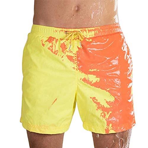 Zoloyo Herren-Strandshorts, magische Farbwechsel, Strand-Shorts für Männer, Bademode, schnelltrocknend, Badeshorts für Jungen, Strand, Freizeit, Hose, elastischer Bund, baumwolle, gelb, XX-Large
