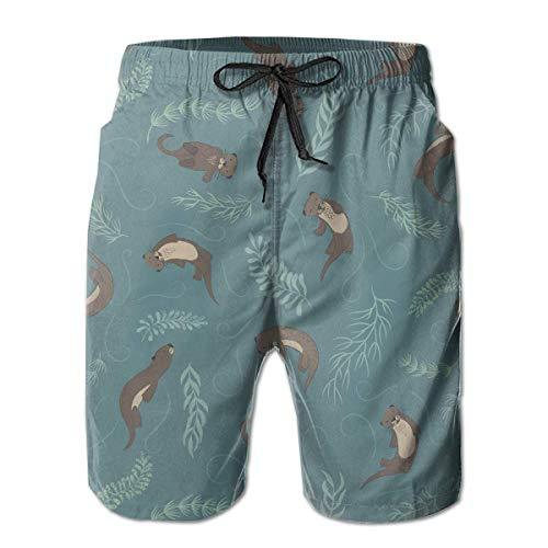 Badehose für Herren Animal Otter Quick Dry Beach Board Shorts,XL