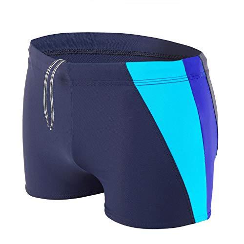 Aquarti Herren Badehose Kurz mit Seitlichem Streifen, Farbe: Dunkelblau/Kornblumenblau/Türkis, Größe: L