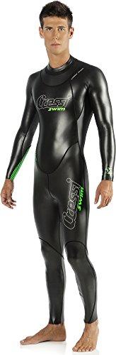 Cressi Triton, Schwimmanzug Herren Neopren, Triathlonanzug 1.5mm,Schwarz/Grün,XL/5