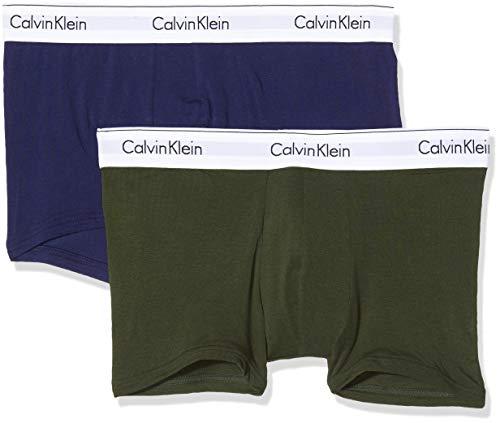 Calvin Klein Herren Trunk 2PK Badehose, Beige (Duffel Bag/Purple Night MXD), Medium (Herstellergröße:M) (2er Pack)