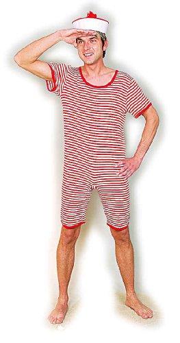 Ringel-Badeanzug rot-weiß, Größe:XXL