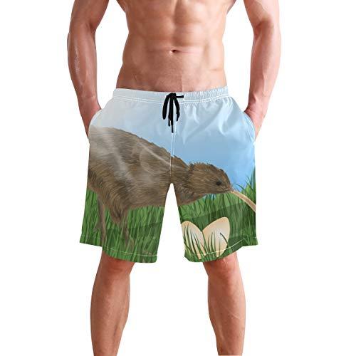Bonipe Herren Badehose Kiwi Bird schnell trocknende Boardshorts mit Kordelzug und Taschen Gr. L/XL, mehrfarbig