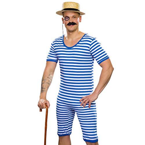 NET TOYS Gestreifter Badeanzug Herren Retro | Blau-Weiß in Größe XXL (60/62) | Sportliches Männer-Kostüm Ringelbadeanzug Nostalgie | EIN Highlight für Mottoparty & Kostümfest