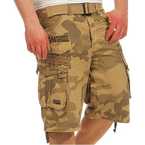 Geographical Norway PANORAMIQUE MEN - Herren Bermuda Shorts Kurze Manner - Herren Sport Cargo Short Sommer - Regular Herrenshorts Chino Bermuda Shorts Fit CAMO BEIGE XL