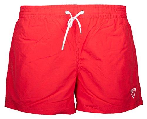 Guess Herren Badeshort, Tropical Gateway Woven Short, Badeshort, Unifarben S-XL: Farbe: Rot | Größe: S (Gr. Small)