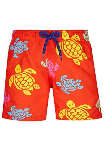 Vilebrequin - Mehrfarbige Tortues Badeshorts für Jungen - Orange - 8ANS