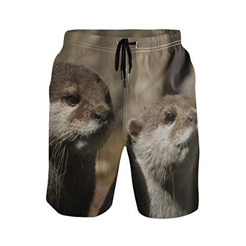 Herren Badehose Otter Animal Cute Beach Shorts mit Taschen Kordelzug Quick Dry Gr. S 7-9, mehrfarbig