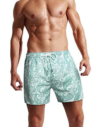 COOFANDY Badehose für Herren Badeshorts für Männer Kurz Schnelltrocknend Beachshorts Boardshorts mit Blumenmuster