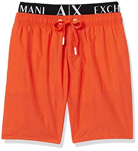 Armani Exchange Herren Allover & Elastic Badehose, Orange (Scarlet IBIS-Scarlet IBIS 14162), Small (Herstellergröße:S)