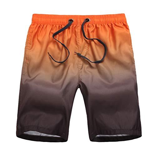 Xmiral Badehose Herren Farbverlauf Verstellbarem Kordelzug Elastisch Taille Lose Strandhosen Kurze Hosen Schnelltrocknend Surf Shorts Badeshorts(Orange,L)