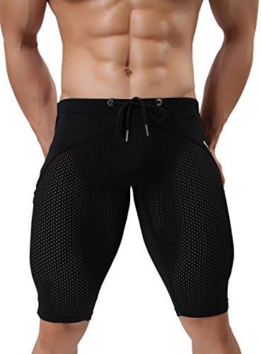 2240 Herren Fashion Atmungsaktiv Mesh Elastische Trainingshose Badehose - Braun - Large: 76 cm-89 cm