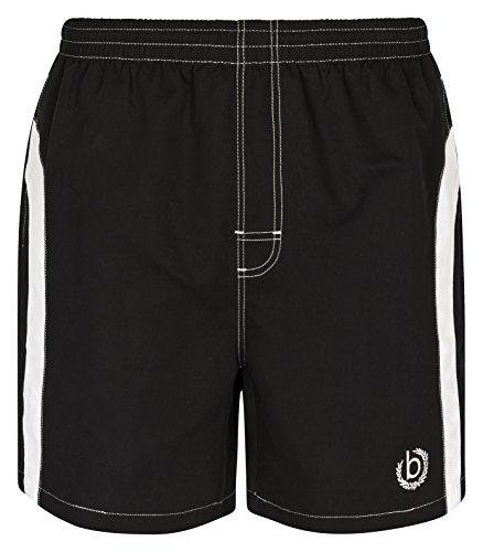 Bugatti® - Moderne Herren Badeshort, schwarz mit weißen Streifen, in Größe L