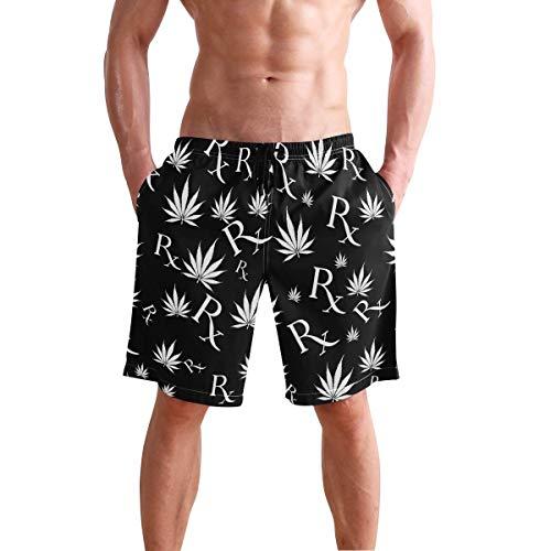 QUEMIN Herren Badehose Schwarz-Weiß Marihuana Blatt Vintage Symbol Quick Dry Beach Board Short mit Netzfutter, Größe XXL