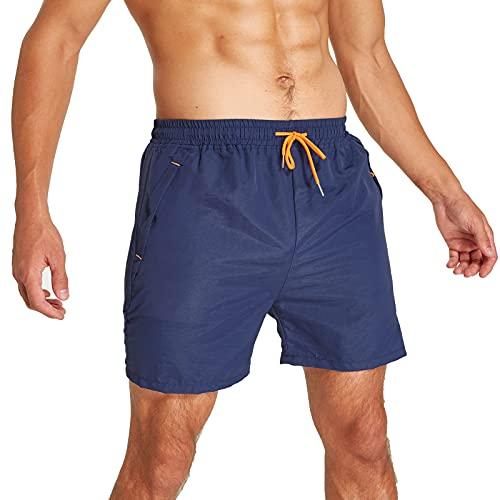 JustSun Badeshorts Herren Badehose Männer Schwimmhose Herren Sommer Schnelltrocknend Boardshorts Beach Shorts mit Kordel Dunkelblau XL
