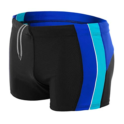 Aquarti Herren Badehose mit Seitlichen Streifen, Farbe: Schwarz/Blau/Türkis, Größe: XL
