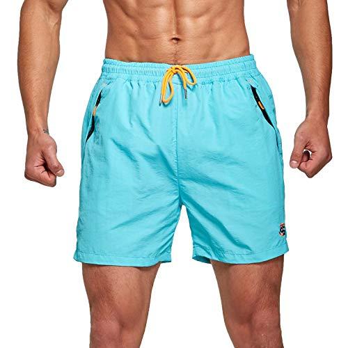 JustSun Badeshorts Herren Badehose Männer Schwimmhose Herren Sommer Schnelltrocknend Boardshorts Beach Shorts mit Kordel Hellblau M