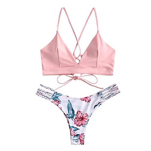 Damen Bikini Set Zweiteilige Badeanzug mit Blumenmuster Schnürung Zweiteilig gepolsterter Oberteil mit verstellbaren Bandage Hohe Taille Bikinihose Bathing Suit Strandkleidung Strandmode Rovinci