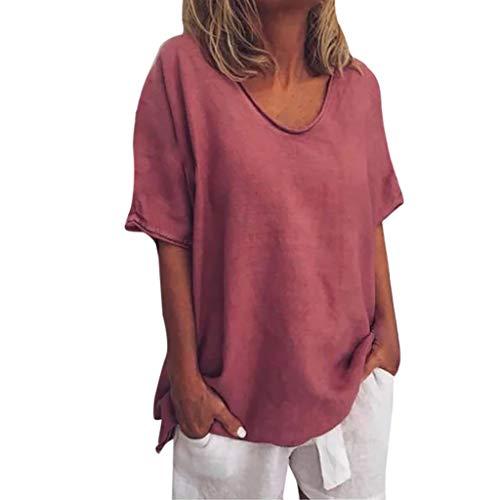 Damen Oberteile, Cramberdy Sommer Elegant Damen Baumwolle Leinen T Shirt Oversize Einfarbige Oberteile Shirt Frauen Casual Bluse Lose Kurzarmshirt Hemd Crop Tops Damen Hoodie