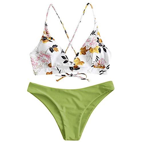 ZAFUL Damen zweiteilig Bikini-Set mit Blumenmuster verstellbarem BH Push-Up Rücken, Triangle Einfarbig Badehose Sommer (Hellgrün, M)