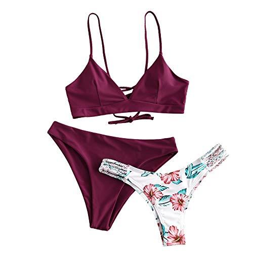 ZAFUL zweiteilig Bikini-Set mit Flechtgurt verstellbarem BH Push-Up Rücken, Triangle Bustle Badehose mit Blummenmuster (Pflaumentorte Rot, L (EU 40))