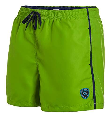 Zagano Badehose Herren Badeshorts Herren Milan mit seitlichen Taschen Gesäßtasche I Modische Herren Shorts Schwimmen Freizeit Wassersport I Badeshorts in der Farbe Hellgrün, Größe 4XL