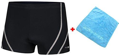 Aqua Speed Badehosen für Herren eng | Kurze UV Schwimmhose | Schwimmbekleidung | Sports Mens Swimwear I Retro Bademode Männer I + Kleines Microfaser-Handtuch, Ryan, Gr. XL, Schwarz-Weiß
