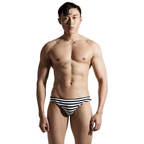 Lantra Besa Herren Badehose Slip Bikini Bottom für Sommer Schwimmen MEHRWEG (Typ 32) - Schwarz-Weiß Gestreift, Asiatische Größe XL, Bundumfang 83-90cm
