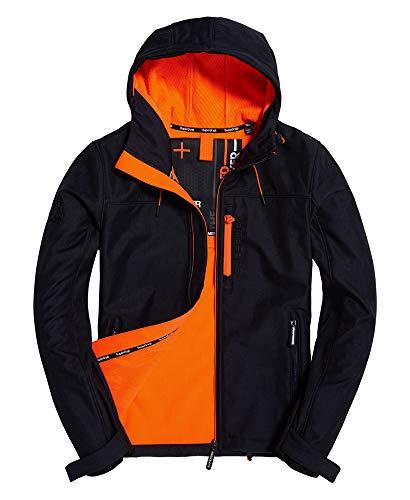 Superdry Jacke Herren Hooded WINDTREKKER Deep Navy/Lazer Orange, Größe:L