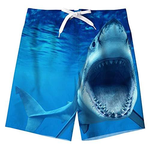 Kids4ever Badehose Jungen 3D Lustige Hai Gedruckt Elastische Taille Blau Badeshort Sommer Hawaii Holiday Beach Board Surfen Boardshort für Kinder Mit Taschen