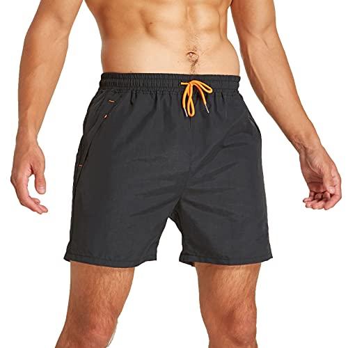 JustSun Badeshorts Herren Badehose Männer Schwimmhose Herren Sommer Schnelltrocknend Boardshorts Beach Shorts mit Kordel Schwarz XL