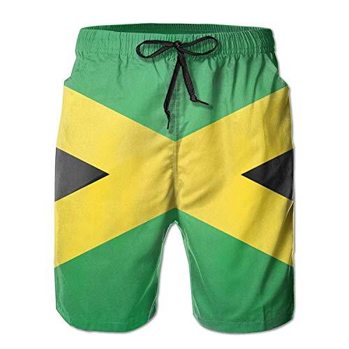 Jamaika Männer mit Tasche Quick Dry Beach Shorts Taille Elastic Design Badehose Badebekleidung Home Shorts, Größe XL