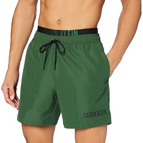 Calvin Klein Herren Medium Double Wb Badehose, Grün (Dark Green LC0), Large