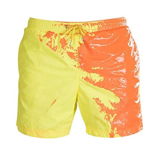 Zoloyo Badehose mit Farbwechsel, für Jungen, Sommer, Herren, schnelltrocknend, für Strand, Bademode, temperaturempfindliche Farbwechsel-Shorts, gelb, Large