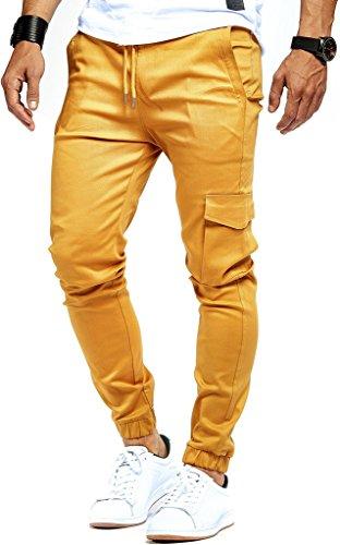 Leif Nelson Herren Jogger Chino Cargo Jeans Hose Freitzeithose LN8071; Größe M; Camel