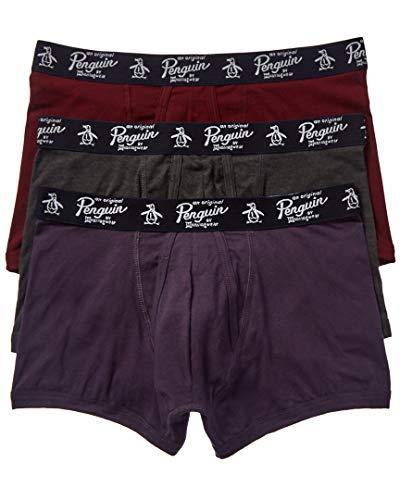 ORIGINAL PENGUIN Herren Men's Cotton Stretch Trunks, 3 Pk Badehose, Nachtschatten/Tawny Port/Dunkelgrau, Medium