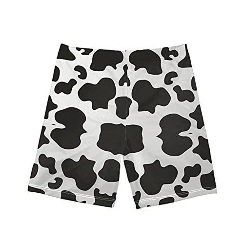 Qingeng Badehose für Jungen, Surfen, Schwimm-Shorts, für 5–14 Jahre, Schwarz-weiße Kuh-Liebhaber, 9-10 Jahre