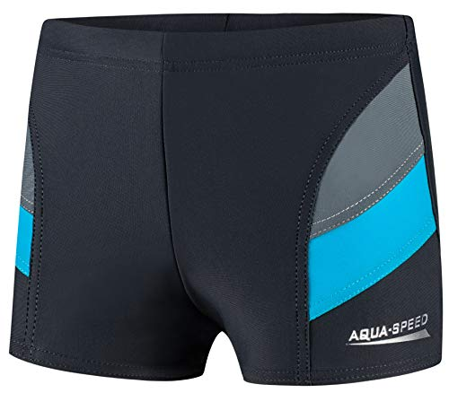 Aqua Speed Boxer Badehose Jungen eng kurz + gratis eBook   Triathlon Schwimmhose Jungs   Sport UV Jungenbadehose   32. Grau Blau Gr. 128   Andy