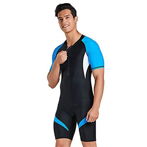 XDXART Einteiliger Badeanzug für Damen und Herren Kurzarm-Badebekleidung für Paare mit kurzen Ärmeln Surfanzug für Sonnenschutz (Blue, XL)