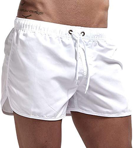 NTNY3 Badehose Shorts Herren Sport Sommer Kurze Hosen Schwimmhose Laufshorts Fitness Männer (Weiß, L)