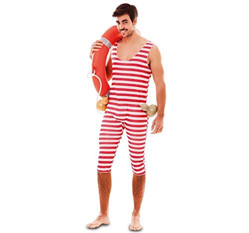 EUROCARNAVALES Erwachsen Kostüm Retro Badeanzug rot-weiß gestreift, wahlweise mit Haube, Beachparty Karneval (Herren-56)